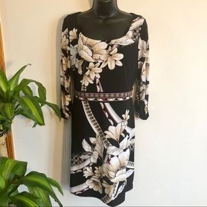 WHBM size medium women's floral dress 3/4 sleeves